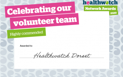 Healthwatch Dorset 'Highly Commended' in prestigious national award